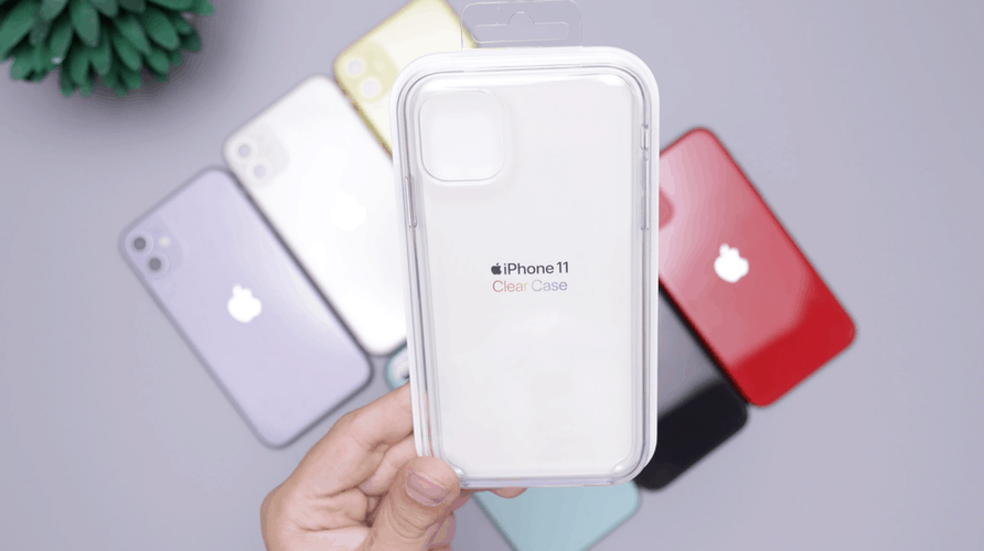 Person holding a new clear case for iPhone11