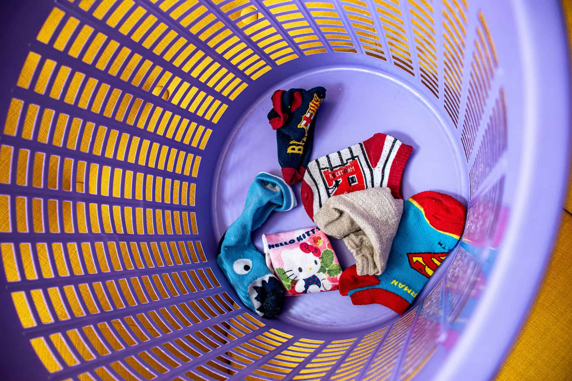 Socks on a laundry basket