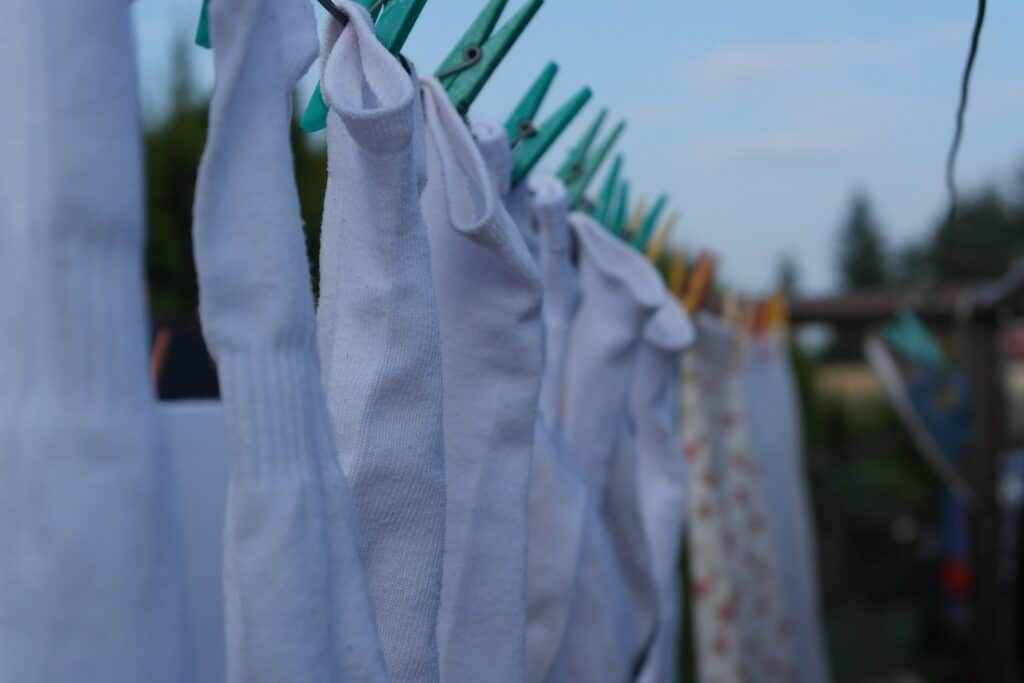 Freshly cleaned socks on a clothesline