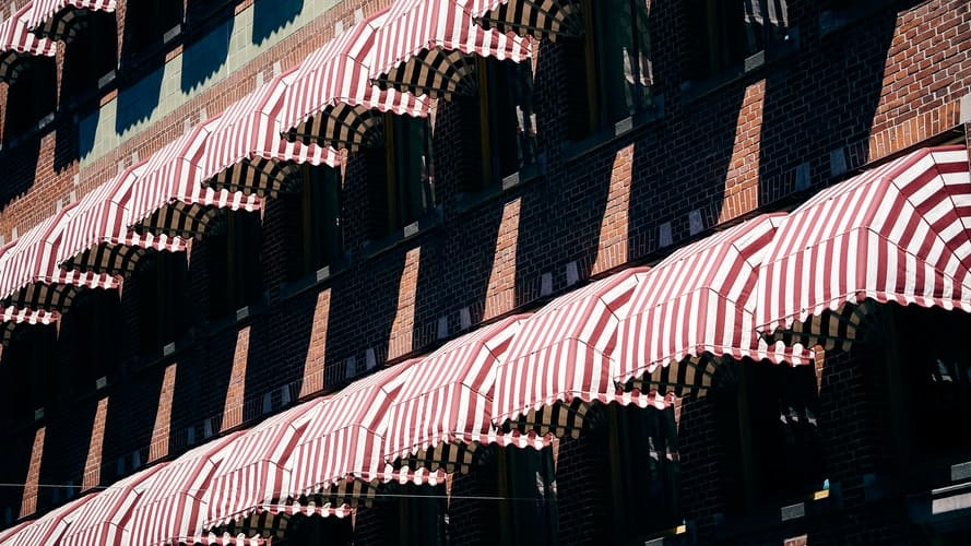 Rows of awnings fabric