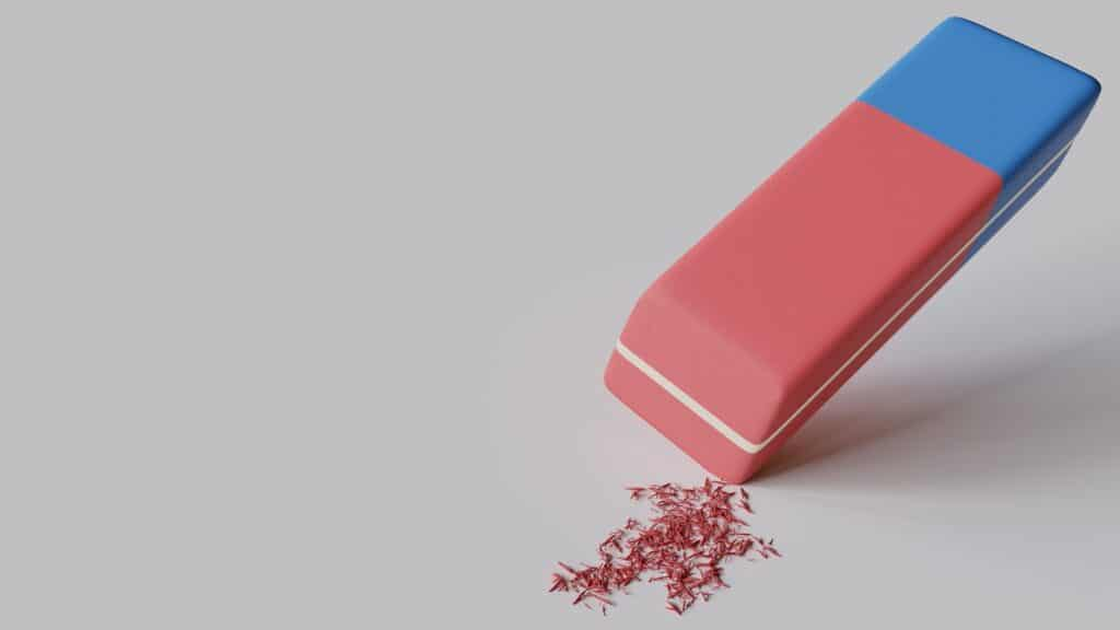 Pink and blue eraser