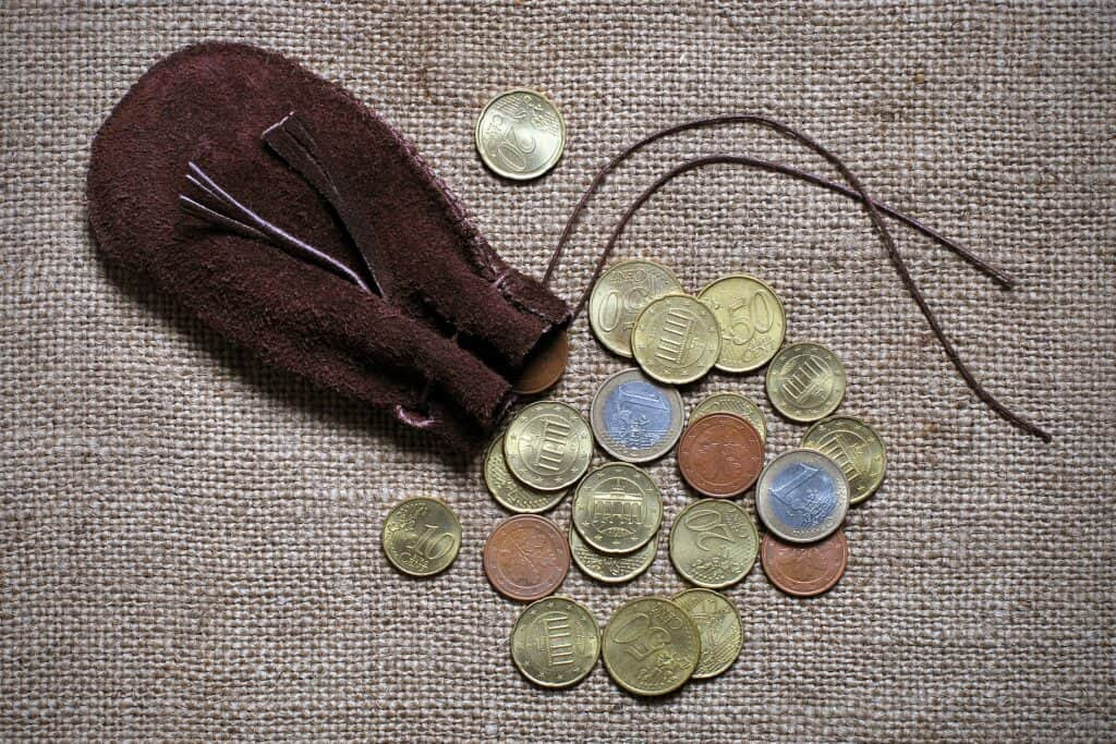 Burlap suede coin purse
