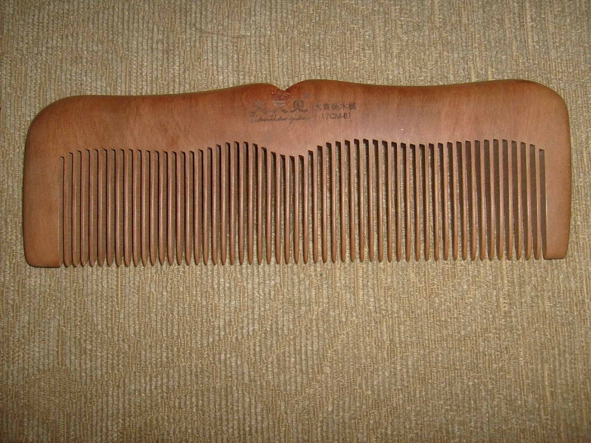 Clean wooden comb