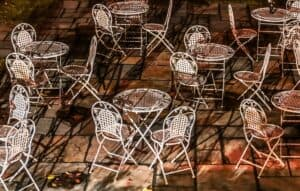 Drying out clean wrought iron patio furniture in the sun