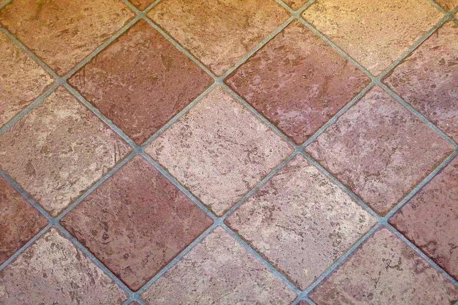 Mexican tiles installed in diamond layout