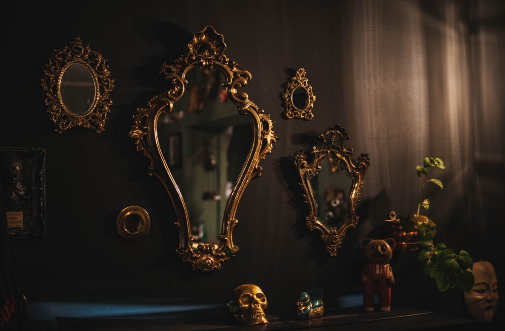 An interior design with antique mirrors