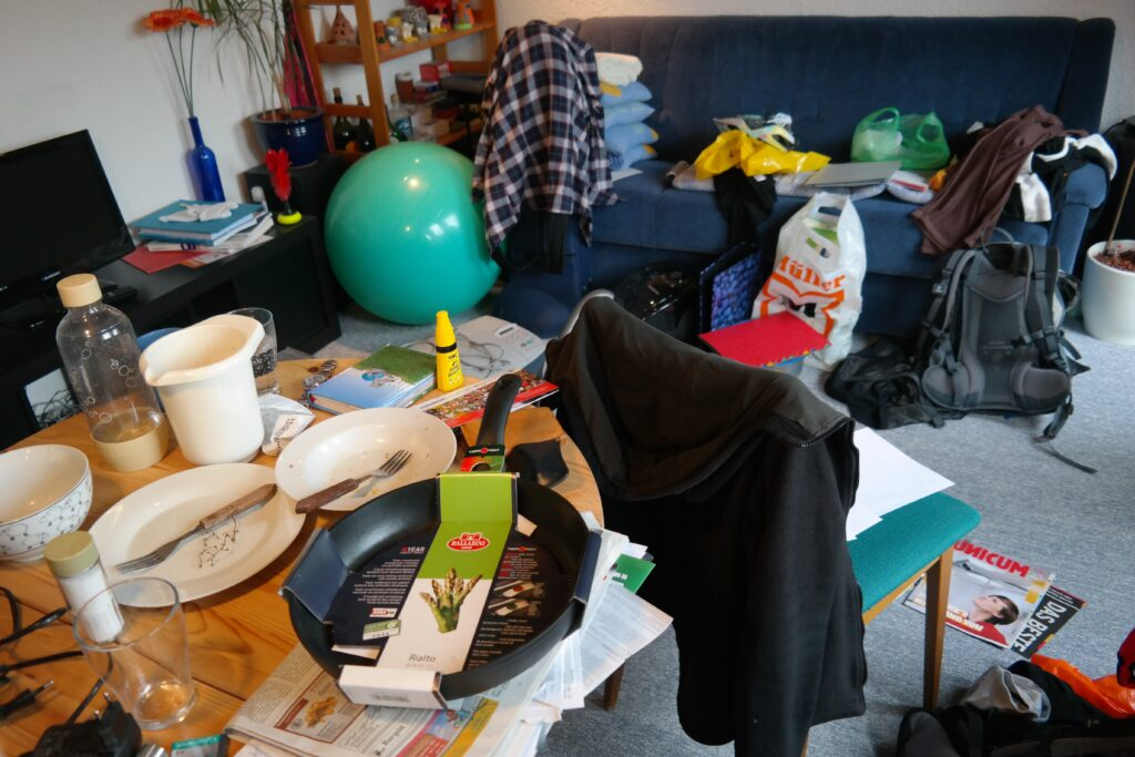 A messy cluttered room