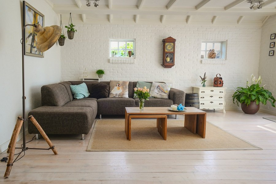 Seagrass rug under coffee table