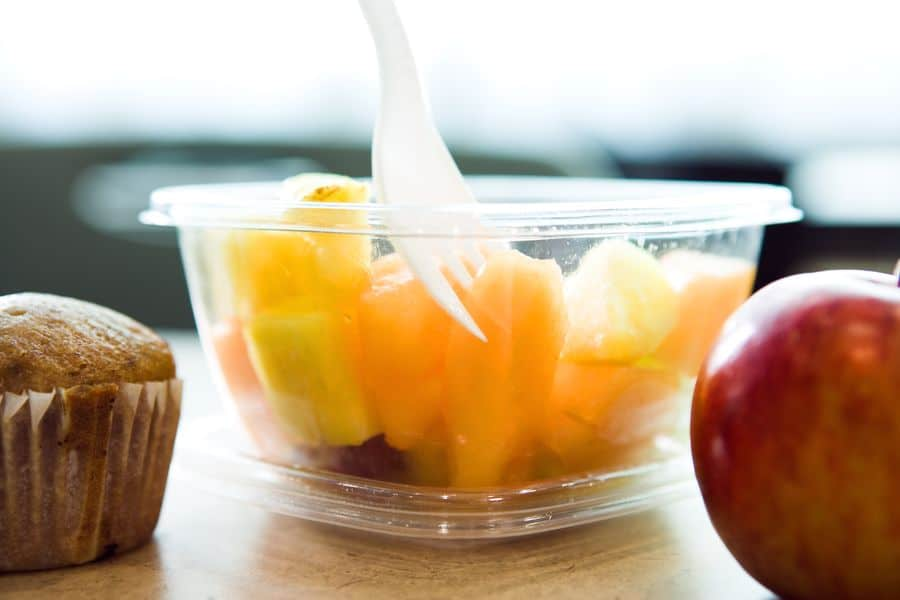 Fruits in a plastic container