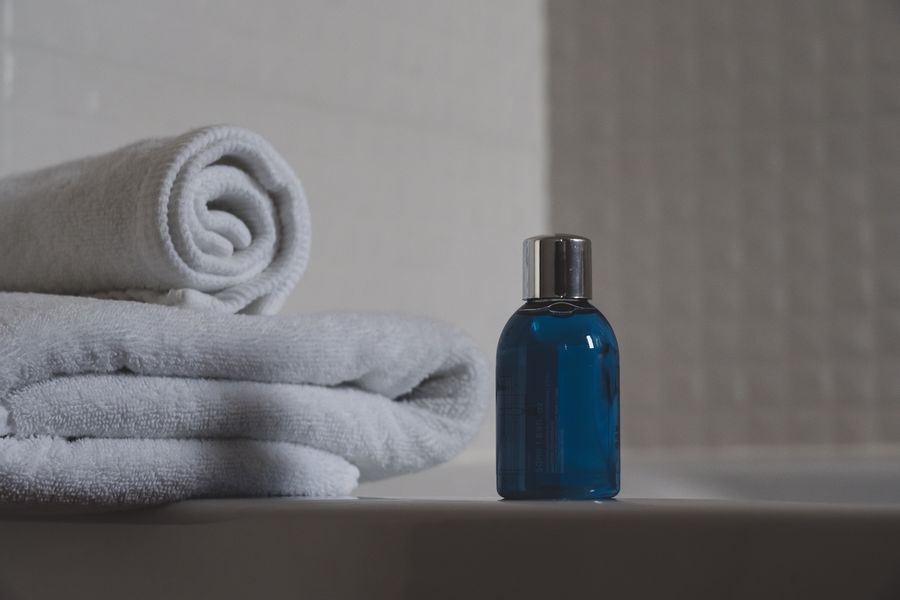 Towel and a bottle of cleanser