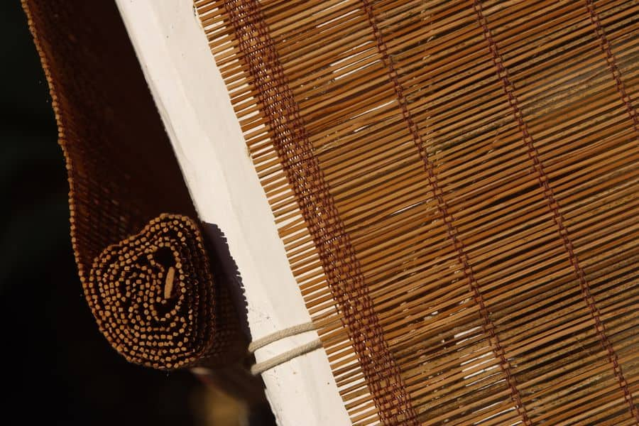 Bamboo blinds over window