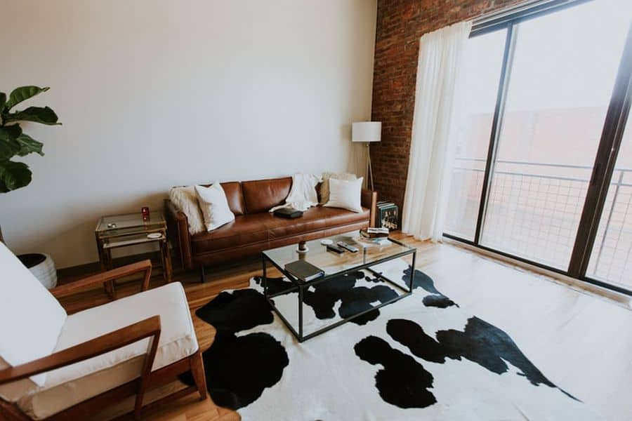 Living room with a cowhide rug
