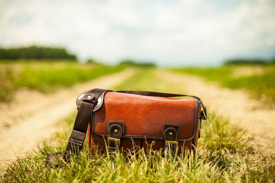 Leather purse placed on the grass