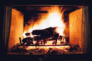 Fireplace being used